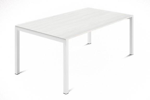 Jídelní stůl Web - 140 cm (kostra ocel bílá/deska malamin textura bílá)