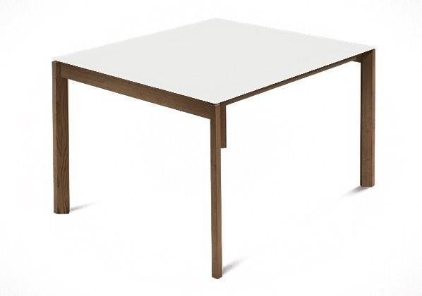 Jídelní stůl Web - 90 cm (kostra masiv ořech/deska leptané sklo bílé)