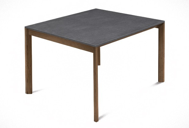 Jídelní stůl Web - 90 cm (kostra masiv ořech/deska melamin textura šedá)