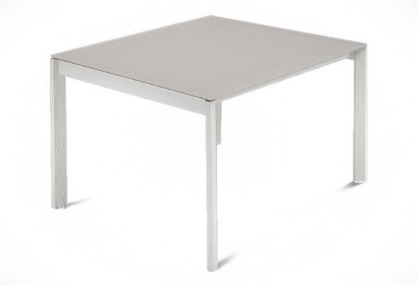 Jídelní stůl Web - 90 cm (kostra masiv textura bílá/deska leptané sklo šedé)