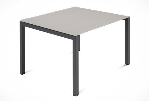 Jídelní stůl Web - 90 cm (kostra ocel antracit/deska leptané sklo šedé)