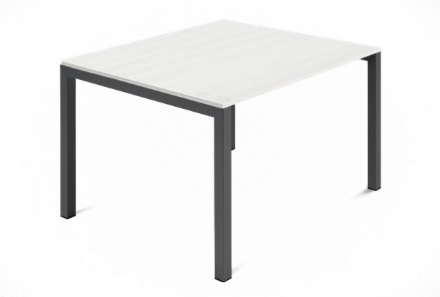 Jídelní stůl Web - 90 cm (kostra ocel antracit/deska malamin textura bílá)
