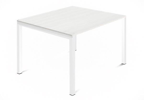 Jídelní stůl Web - 90 cm (kostra ocel bílá/deska malamin textura bílá)