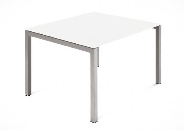 Jídelní stůl Web - 90 cm (kostra ocel písková/deska leptané sklo bílé)