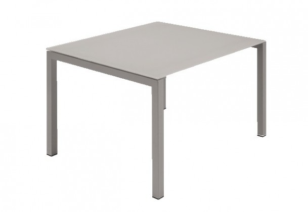 Jídelní stůl Web - 90 cm (kostra ocel písková/deska leptané sklo šedé)