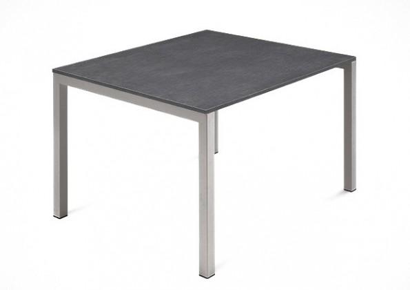 Jídelní stůl Web - 90 cm (kostra ocel písková/deska melamin textura šedá)