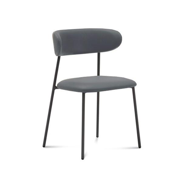 Jídelní židle Anais - Jídelní židle (lak antracit matný, eko kůže šedá)