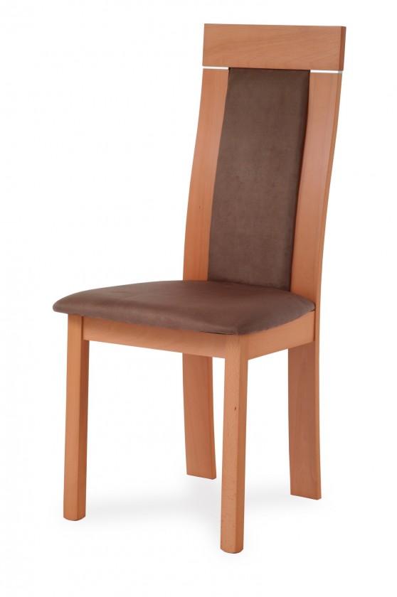 Jídelní židle BASTEL(buk, moření buk,potah hnědý)