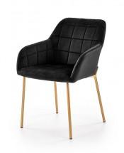 Jídelní židle Belen (látka, kov, černá)
