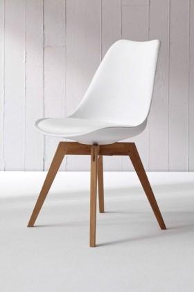 Jídelní židle Bess (bílá, dub)
