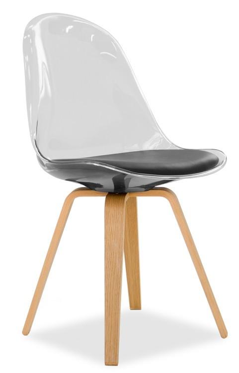 Jídelní židle Bonni 9302-800+ELLA 9318-054 (transparentní,dub)