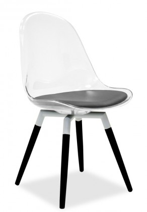 Jídelní židle Bonni 9302-800+FIDO 9315-424 (transparentní,bílá,černá)