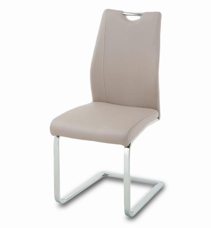 Jídelní židle Carol(koženka lanýžová/chrom)