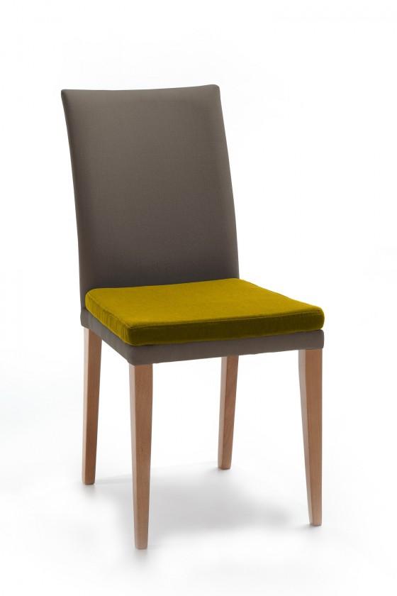 Jídelní židle Crista (dub/látka navara šedá/sedák hořčicová)