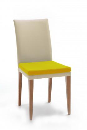 Jídelní židle Crista (dub/látka navara světle béžová/sedák hořčicová)