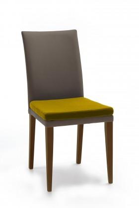 Jídelní židle Crista (jasan/látka navara šedá/sedák hořčicová)