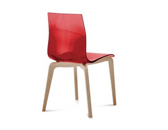 Jídelní židle Gel-L - Jídelní židle (bílá ashwood, červená)