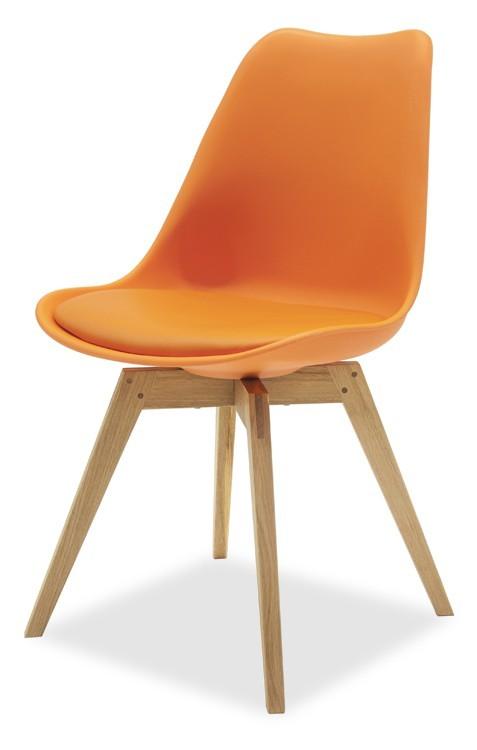 Jídelní židle GINA 9301-817+BESS 9317-054 (oranžová,dub)