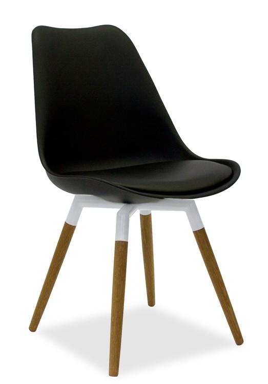 Jídelní židle GINA 9301-824+FIDO 9315-454 (černá,bílá,dub)