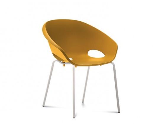Jídelní židle Globe - Jídelní židle (lak bílý, hořčicová)