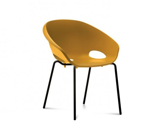 Jídelní židle Globe - Jídelní židle (lak černý, hořčicová)