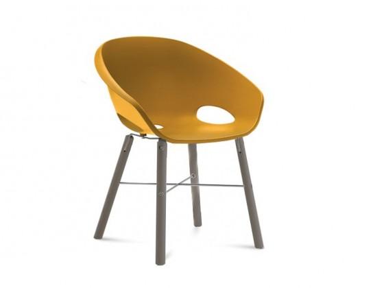 Jídelní židle Globe-L - Jídelní židle (antracit lak, hliník, hořčicová)