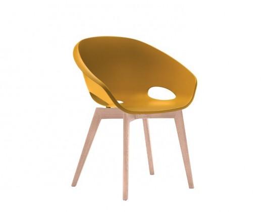 Jídelní židle Globe-LG - Jídelní židle (bělený dub, hořčicová)