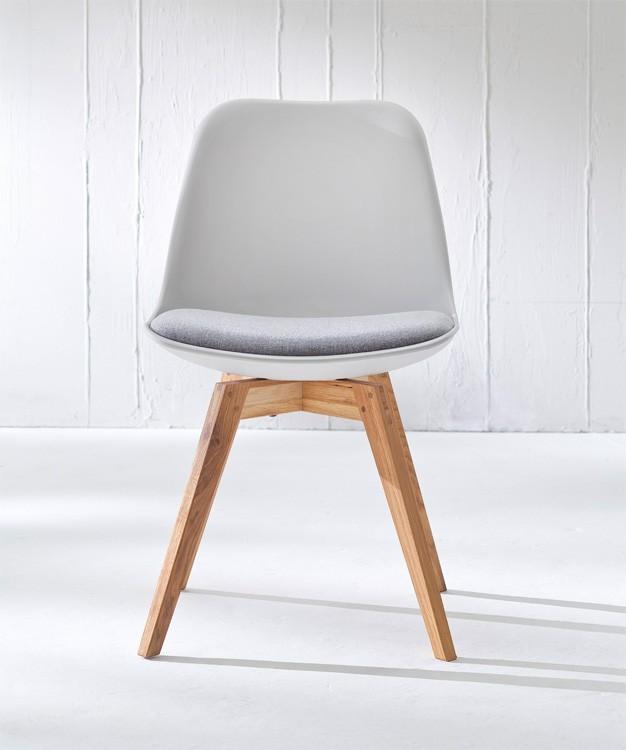 Jídelní židle GRACE 9360-413+BESS 9347-054 (bílá,šedá,dub)