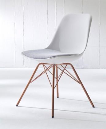 Jídelní židle GRACE 9360-413+PORGY 9346-889 (bílá,šedá,měď)