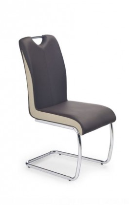 Jídelní židle Jídelní židle K184  (eco kůže tmavě hnědá-šampaň, chrom)