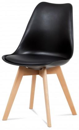 Jídelní židle Jídelní židle Lina černá, plast + eko kůže