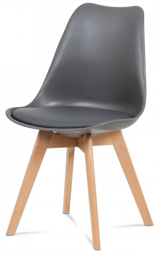 Jídelní židle Jídelní židle Lina šedá, plast + eko kůže