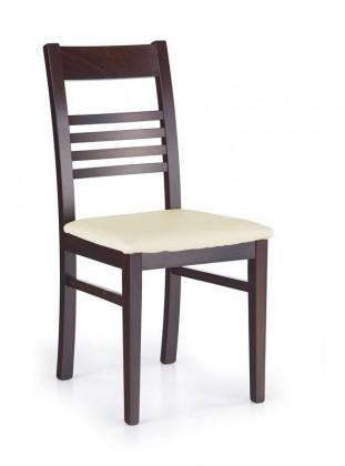Jídelní židle Juliusz  (krémová D1P, ořech tmavý)