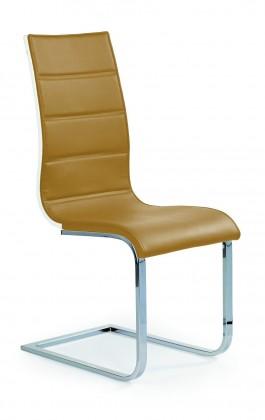 Jídelní židle K104 (chrom, eko kůže béžová, bílá záda)