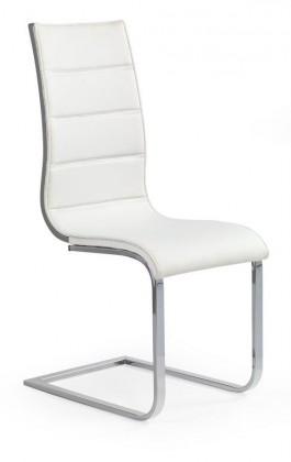 Jídelní židle K104 (chrom, eko kůže bílá, šedá) - II. jakost