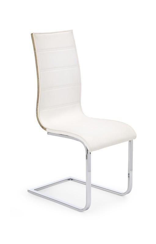 Jídelní židle K104  (chrom, eko kůže bílá, zadní část dub sonoma)