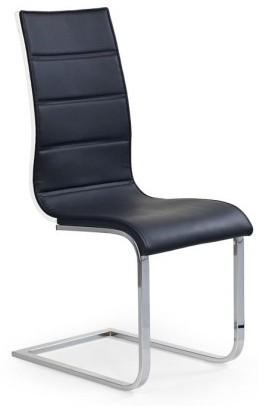Jídelní židle K104 (chrom, eko kůže černá, bílá záda)