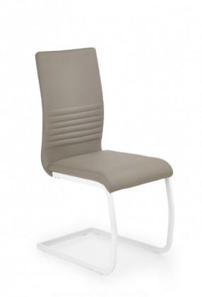 Jídelní židle K185  (eco kůže cappuccino, matná bílá ocel)
