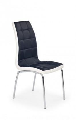 Jídelní židle k186 (eco kůže černo-bílá, chrom)