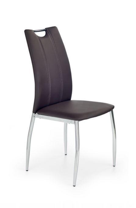 Jídelní židle K187 (eco kůže hnědá, chrom)