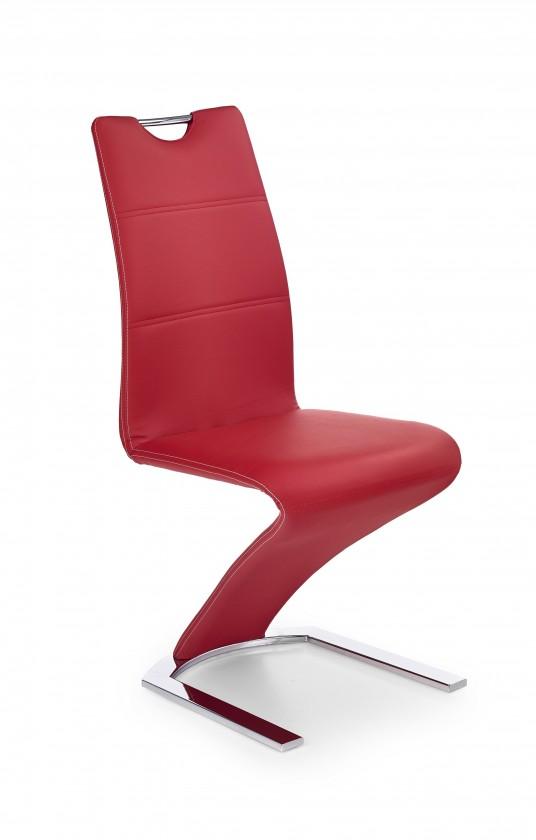 Jídelní židle K188 (eco kůže červená, chrom)