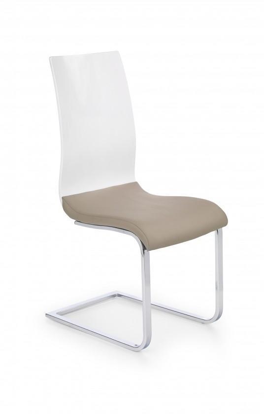 Jídelní židle K198 - jídelní židle (eco kůže cappuccino-bílá, chrom)