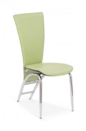 Jídelní židle K46  (eco kůže zelená, chrom)