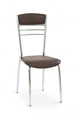 Jídelní židle K48  (tmavě hnědá, chrom)