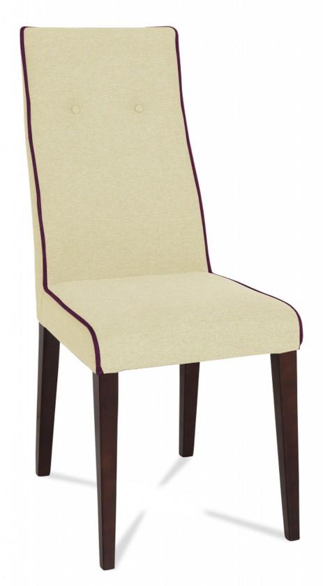 Jídelní židle Kanita (wenge/látka carabu světle béžová/linka karmínová)