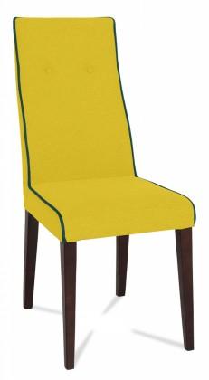 Jídelní židle Kanita (wenge/látka navara hořčicová/linka šedá)