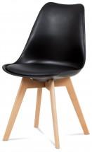 Jídelní židle Lina černá, plast + eko kůže - PŘEBALENO