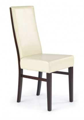 Jídelní židle Ludwik  (eco kůže krémová MG1, ořech tmavý)
