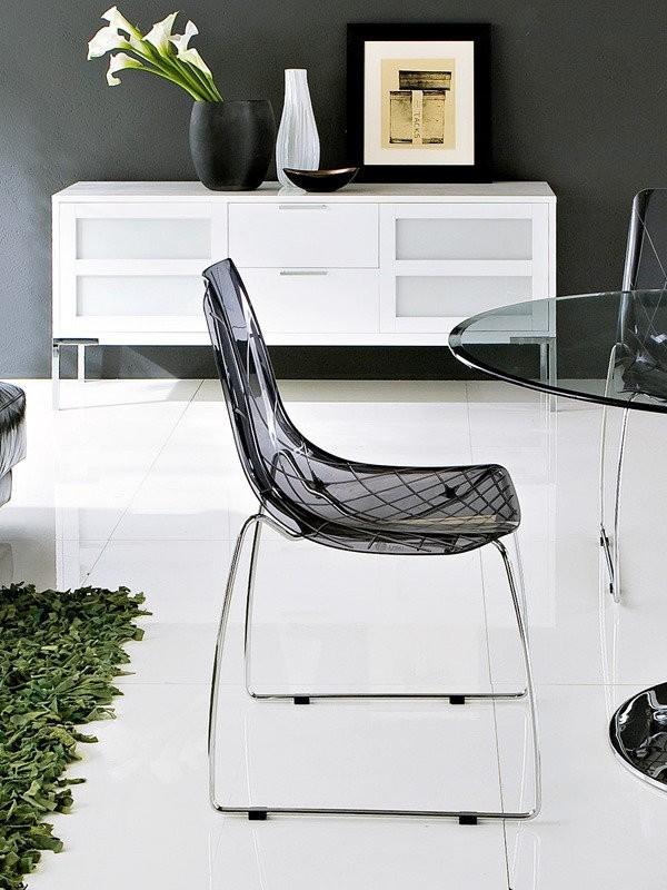 Jídelní židle Lynea-T - Jídelní židle (chrom, kouřově šedá)