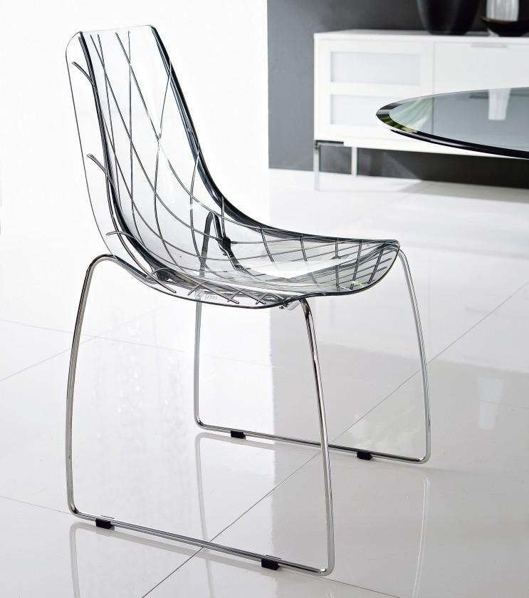 Jídelní židle Lynea-T - Jídelní židle (chrom, průhledná)